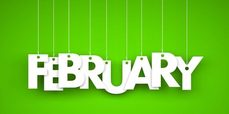 White word FEBRUARY on green background. New year illustration. 3d illustration Фото со стока