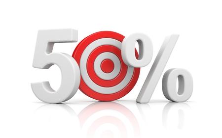 Target form the number 50 percent. Sale metaphors. 3d illustration Фото со стока
