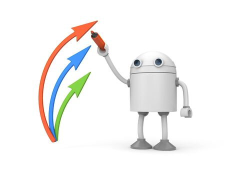 The robot draws arrows red marker. 3d illustration