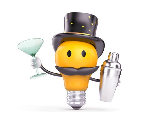 The light bulb in the hat and mustache say - Hello. 3D character. 3d illustration