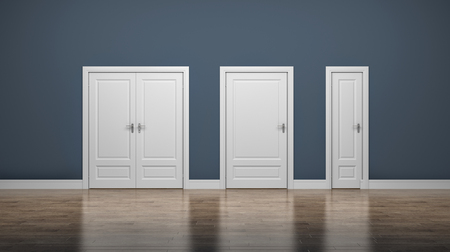 Thick and thin doors. Enter and Exit. Business concept. 3d illustration