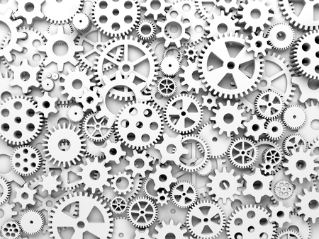 Gears and cogs. White toned background. 3d illustration