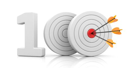 Red stripe targets with arrow form the red number 100. Accurate shot metaphors. 3d illustration