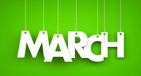White word MARCH on green background. New year illustration. 3d illustration Archivio Fotografico