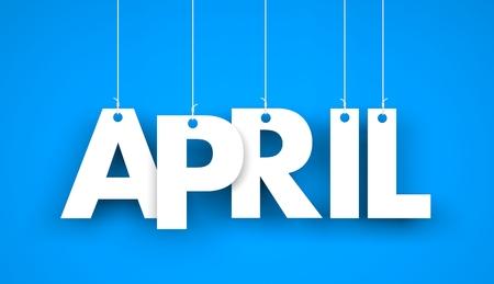 White word APRIL on blue background. New year illustration. 3d illustration