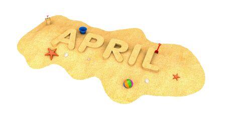 April - word of sand. 3d illustration