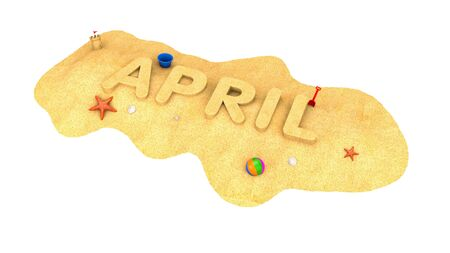 April - word of sand. 3d illustration