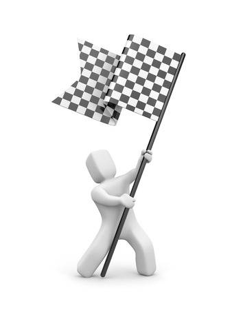 3d man holding a black and white checkered flag. 3d people collection. 3d illustration