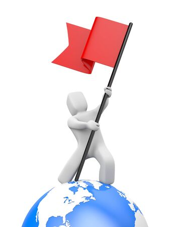 3d man waving red flag. 3d people collection. 3d illustration Фото со стока