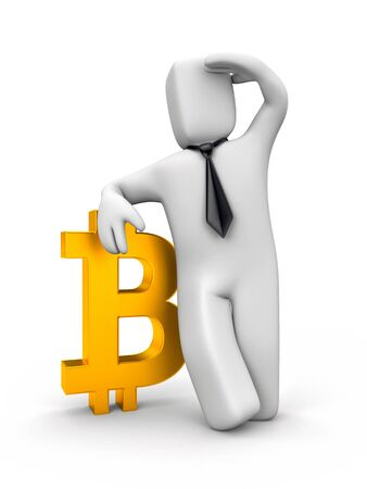 Businessman leaning on Bitcoin. 3d illustration Фото со стока