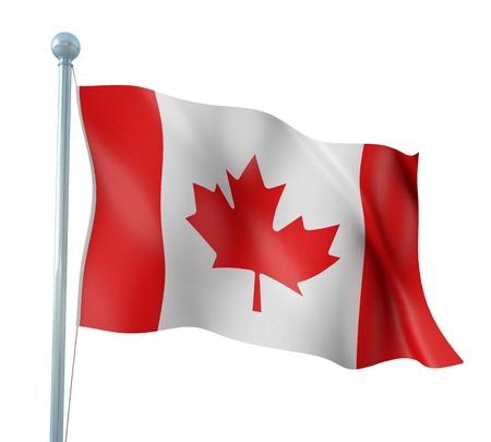 wave crest: Canada Flag Detail Render  Stock Photo