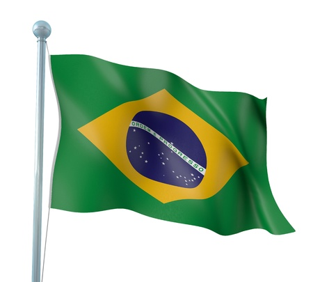 Brazil Flag Detail Render Stock Photo
