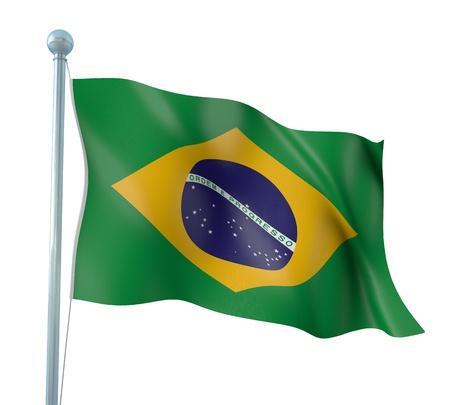 Brazil Flag Detail Render Stock Photo