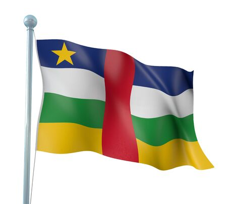 Central African Republic Flag Detail Render Stock Photo