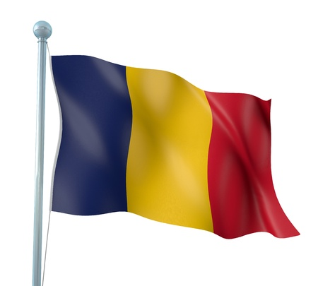 chad: Chad Flag Detail Render Stock Photo