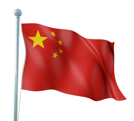 made in china: China Flag Detail Render Stock Photo