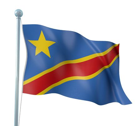 republic of the congo: Democratic Congo Flag Detail Render