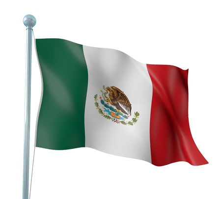 continent: Mexico Flag Detail Render Stock Photo