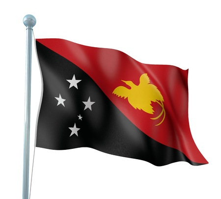 papua: Papua New Guinea Flag Detail Render Stock Photo