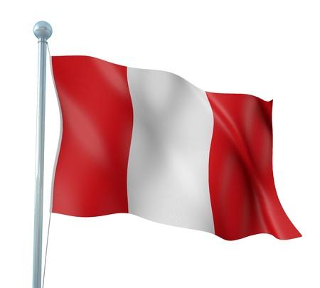 republic of peru: Peru Flag Detail Render Stock Photo