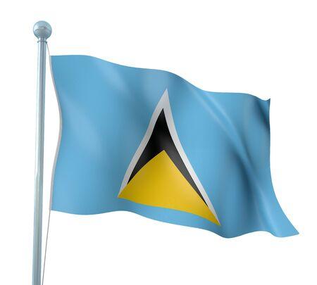 saint lucia: Saint Lucia Flag Detail Render