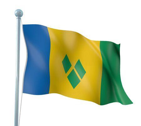 grenadines: Saint Vincent and the Grenadines Flag Detail Render
