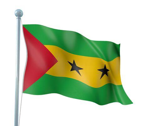 principe: Sao Tome and Principe Flag Detalle Render Foto de archivo