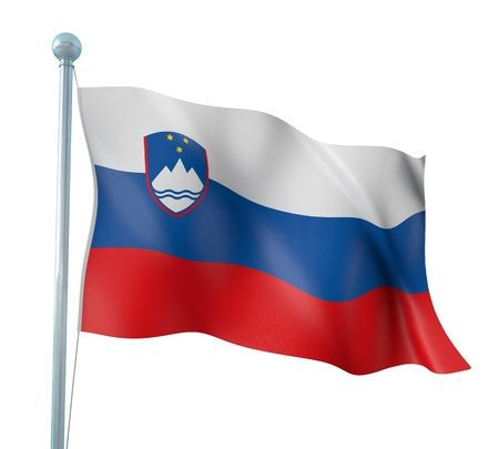 Slovenia Flag Detail Render Stock Photo