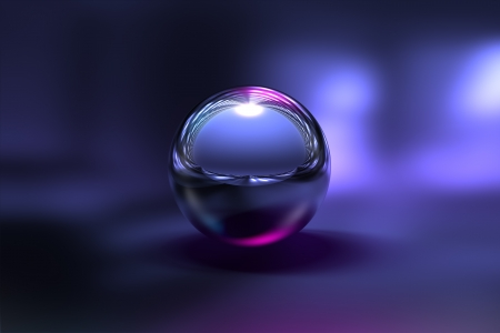 3D Chrome Ball in Purple Background