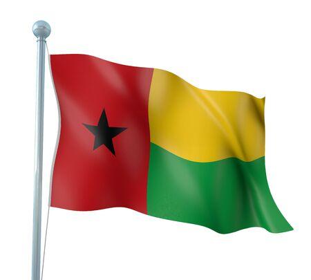 bissau: Guinea Bissau Flag Detail Render  Stock Photo