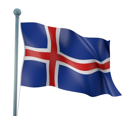 flag of iceland: Bandera de Islandia Detalle Render