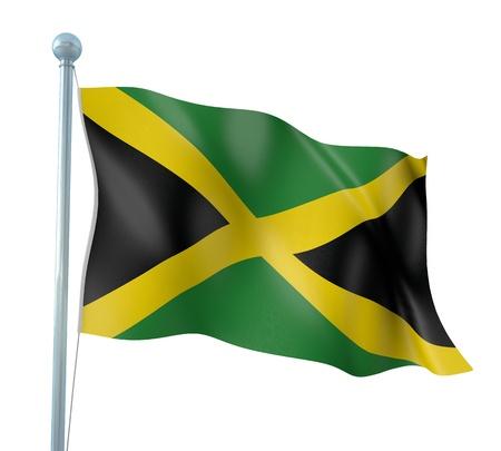 jamaican: Jamaica Flag Detail Render Stock Photo