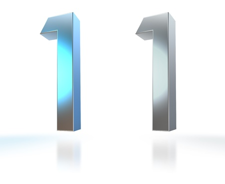 four in one: Number from 0 to 9 in chrome over white background Stock Photo