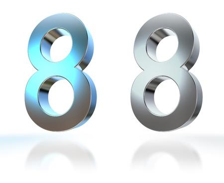 sept: Nombre de 0 � 9 en chrome sur fond blanc
