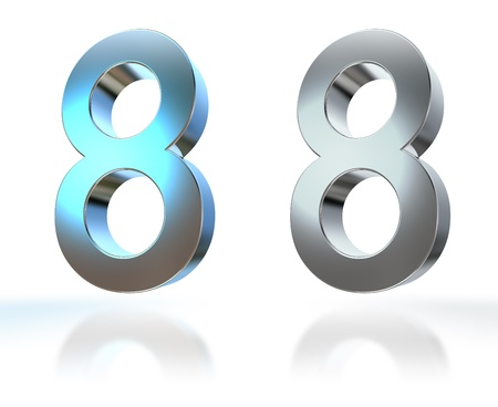 6 7: Number from 0 to 9 in chrome over white background Stock Photo