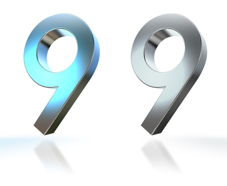 Number from 0 to 9 in chrome over white background Stock Photo