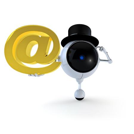 Robot avec des signes Banque d'images