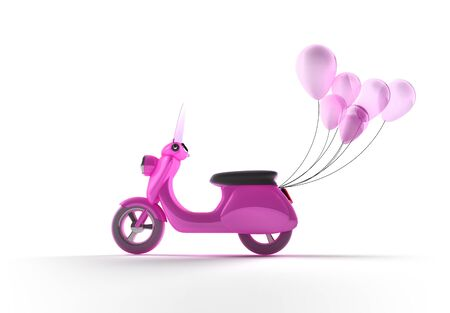 mariage: Scooter with Balloons