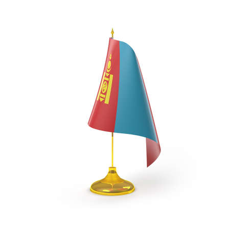 independent mongolia: Mongolia Flag Detail Render Stock Photo