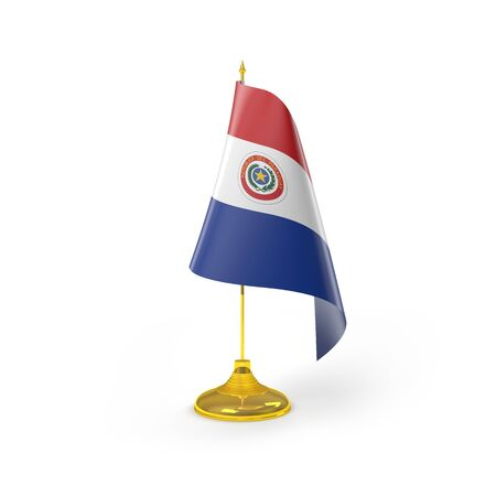 Paraguay flag: Bandera de Paraguay Detalle Render Foto de archivo
