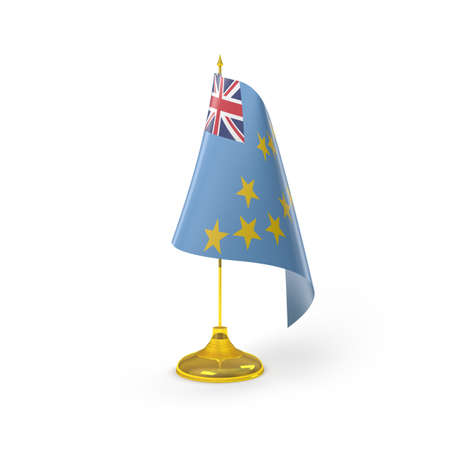 tuvalu: Tuvalu Flag Detail Render Stock Photo