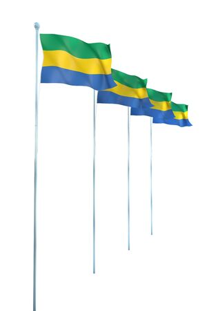 gabon: Gabon Flag Detail Render Stock Photo