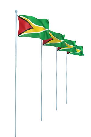 guyana: Guyana Flag Detail Render Stock Photo