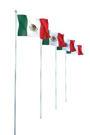 mexico flag: Mexico Flag Detail Render Stock Photo