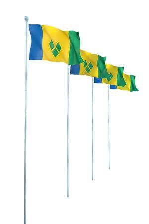 Saint-Vincent-et-Grenadines D�tail de l'Rendu Drapeau Banque d'images