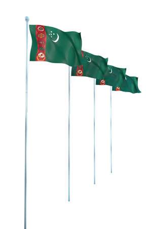flagstaff: Turkmenistan Flag Detail Render Stock Photo