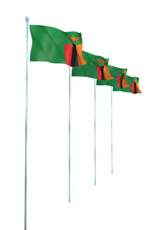 zambia: Zambia Flag Detail Render Stock Photo