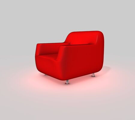 Red Couch   Perspective View photo
