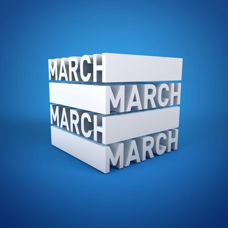 Block Calender MARCH Stock Photo - 16787370