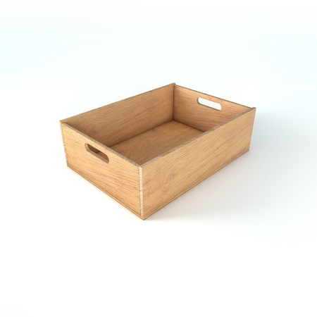 Wooden crate box for food, fruits and vegetables photo